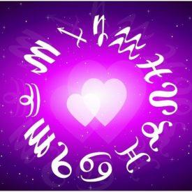 sigue du zodiaque et coeurs violet
